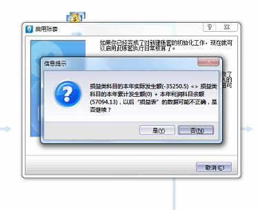 金蝶软件启用账套错误提示损益表
