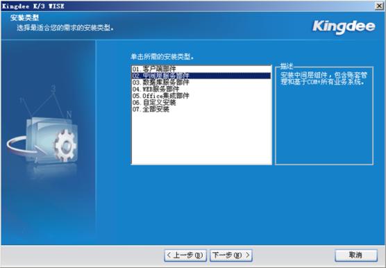 金蝶K3中间层安装01